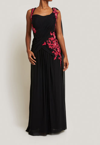 ELEGANT AND FLATTERING BLACK GOWN WITH PINK EMBROIDERY