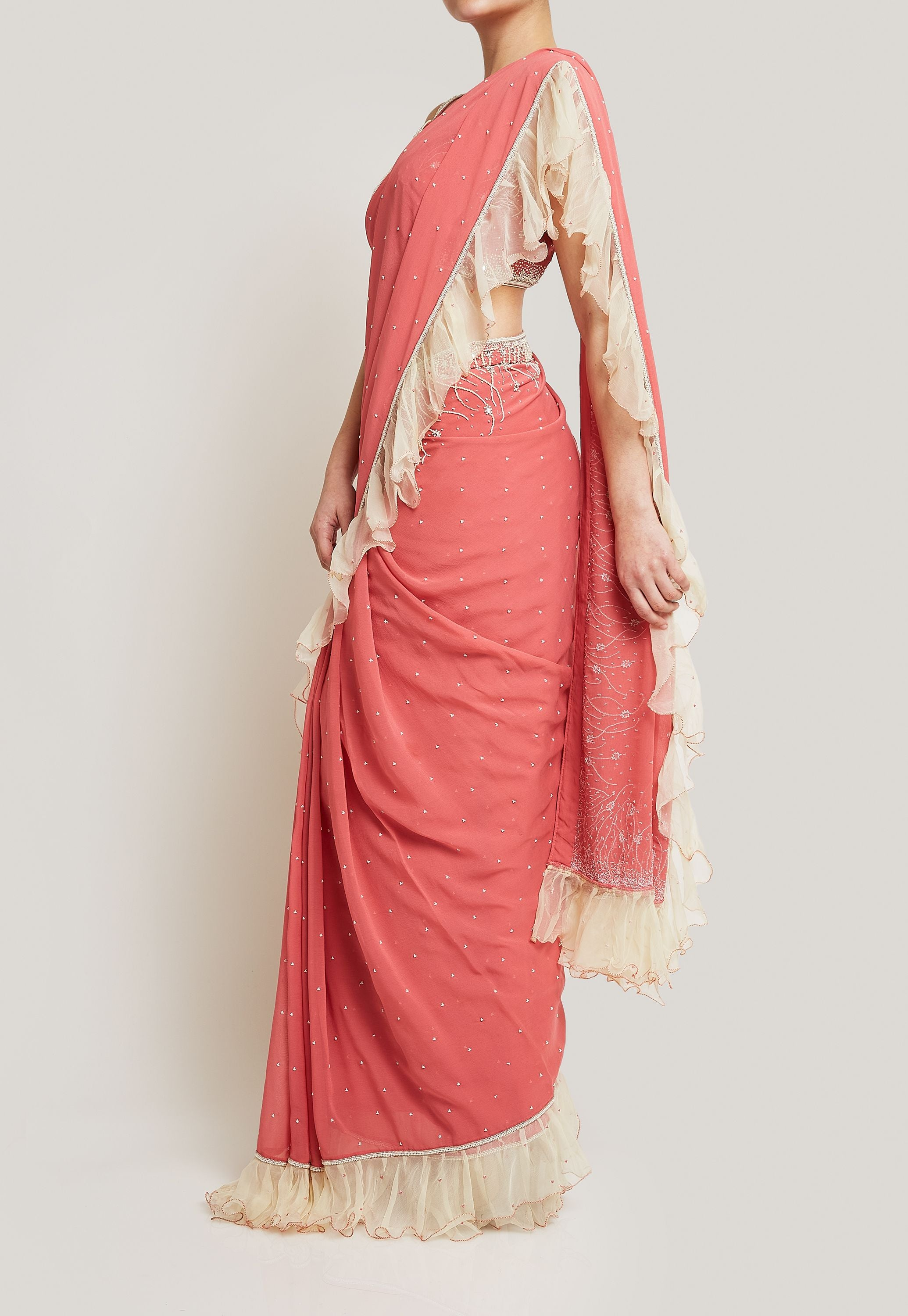 CORAL PINK RUFFLE SAREE WITH PEARL DETAIL