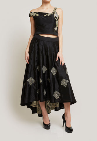 SUJATA AND SANJAY BLACK ASYMMETRICAL SKIRT SET