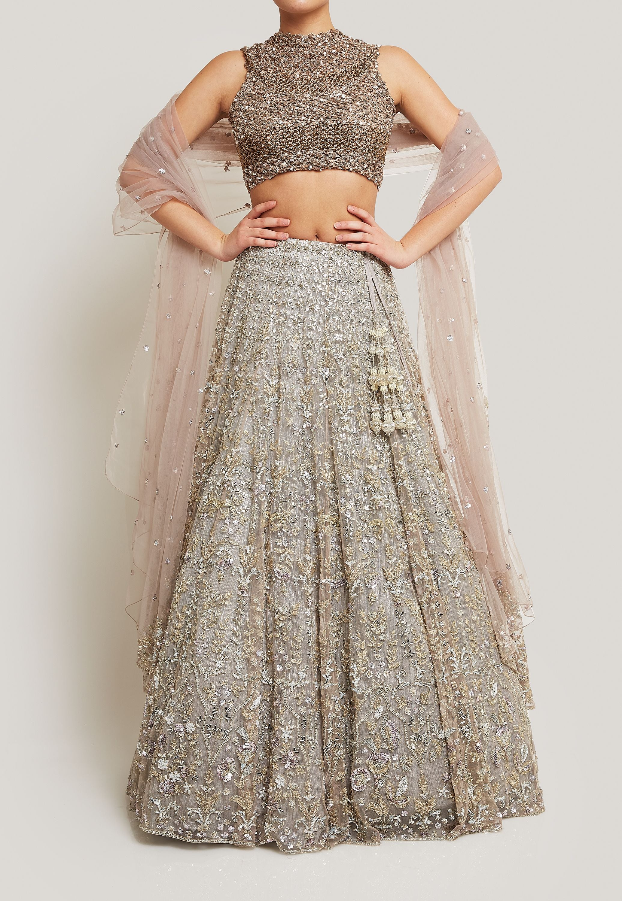 ORNATE AND SPARKLY SILVER BRIDAL LEHENGA