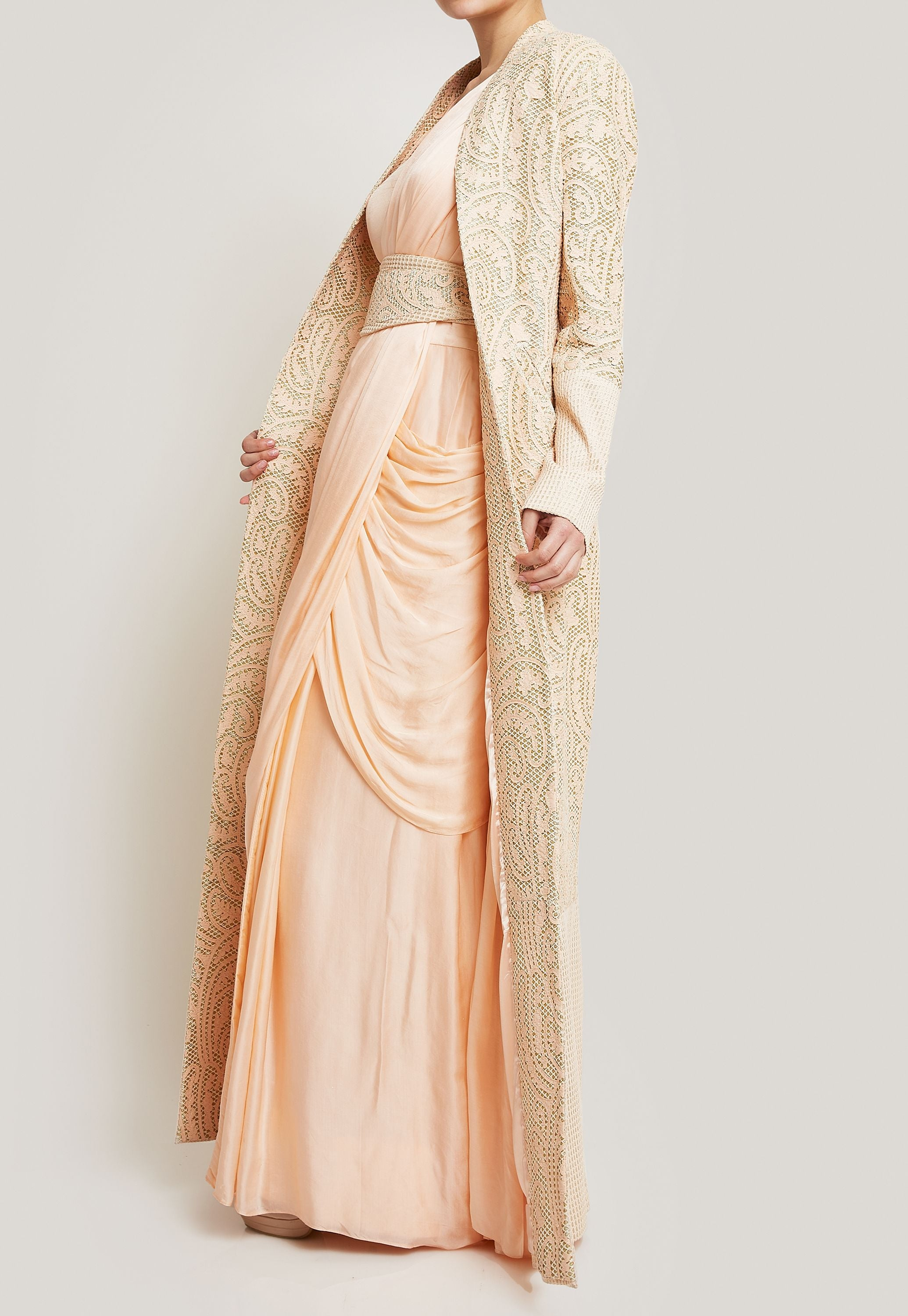 PEACH SAREE GOWN WITH A JACKET AND BELT