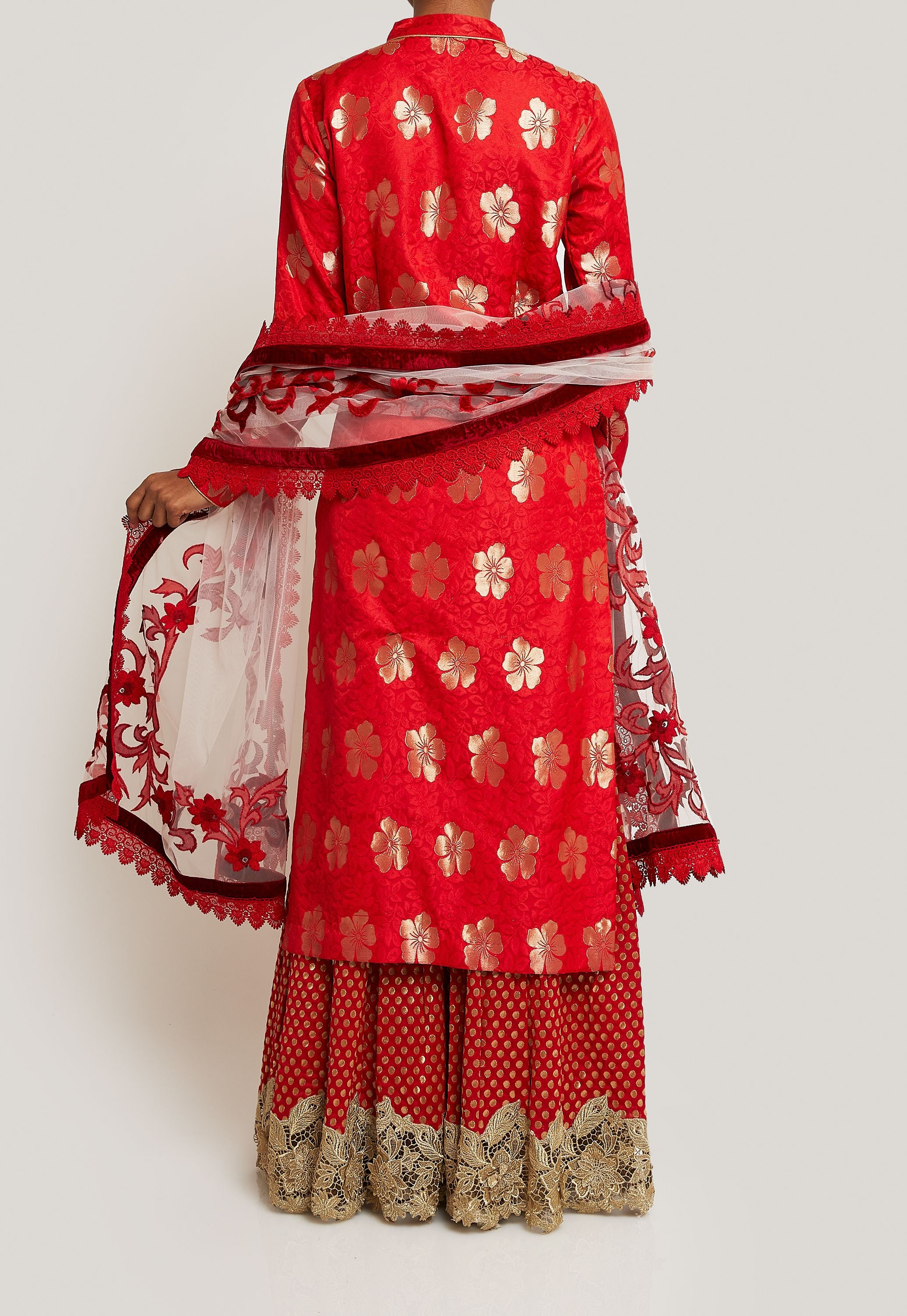 RED SILK AND BROCADE KURTA AND SHARARA SET