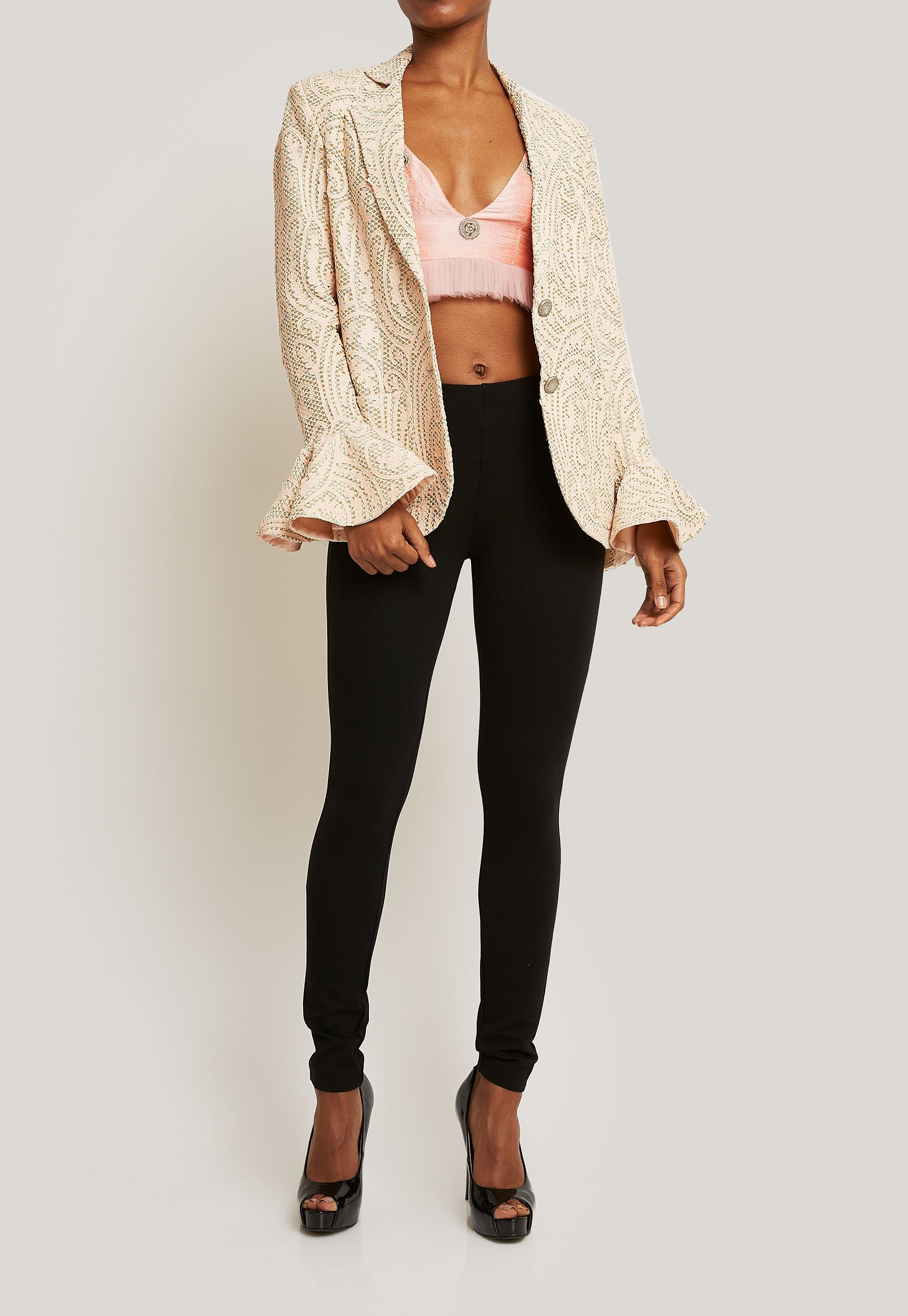 BLUSH PINK JACQUARD JACKET