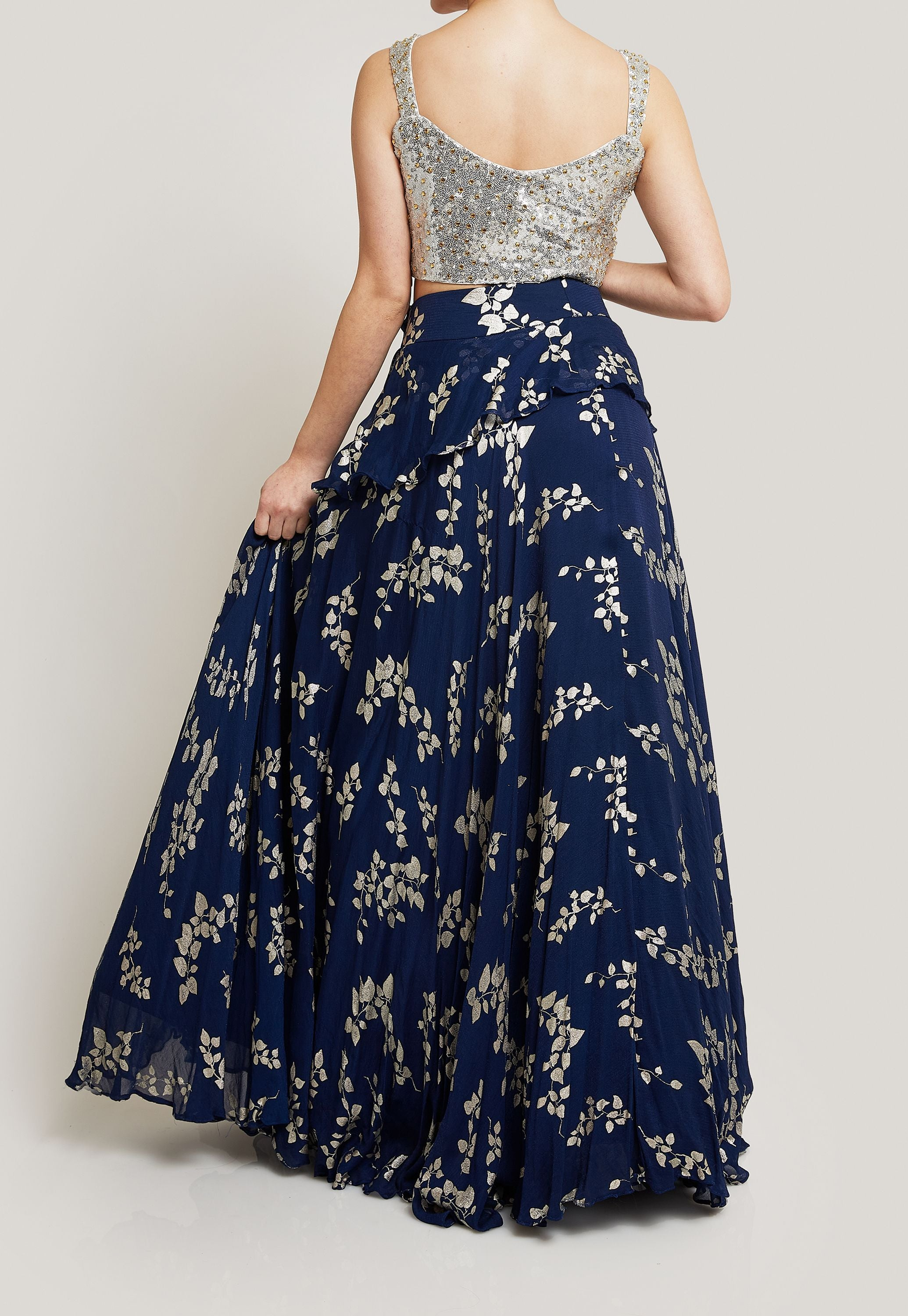 CONTEMPORARY NAVY LEHENGA WITH A SEQUIN SILVER CROP TOP (BLOUSE)