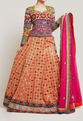 FESTIVE AND COLORFUL LEHENGA WITH A DRAWSTRING BACK BLOUSE
