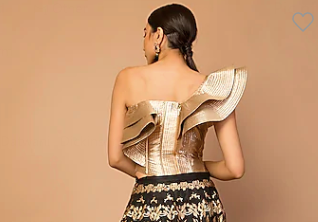 SIDDARTHA TYTLER GOLDEN QUILTED CORSET TOP