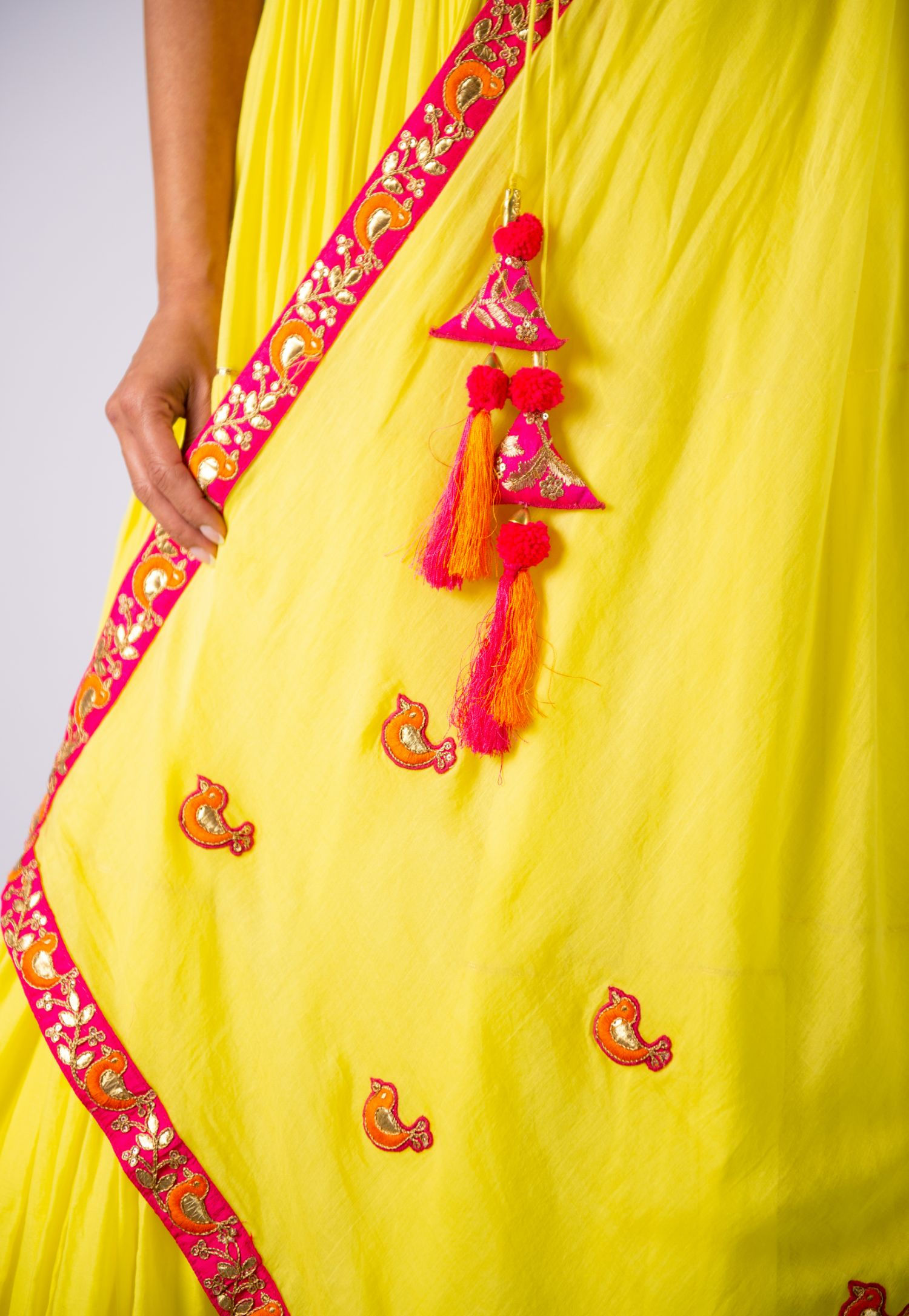 YELLOW TIERED ANARKALI
