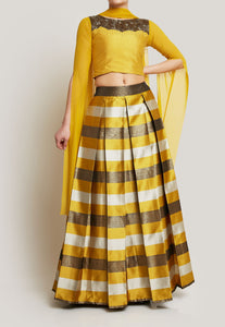 MUSTARD CAPE SLEEVES TOP WITH STRIPED LEHENGA