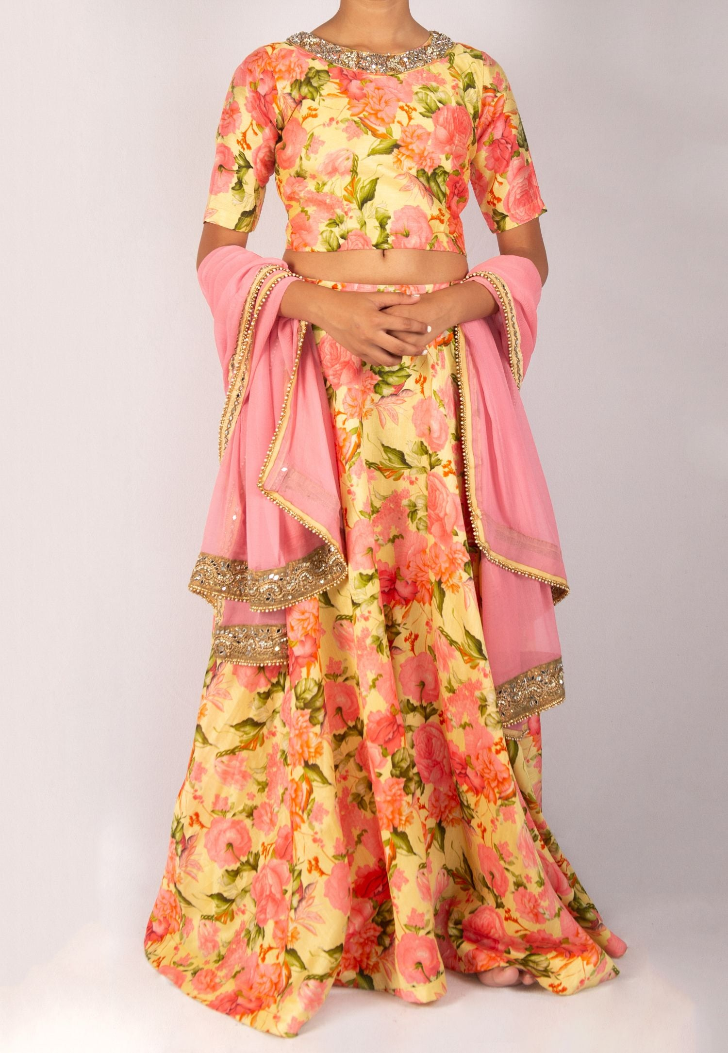 BEAUTIFUL FLORAL YELLOW AND PINK LEHENGA WITH MIRROR WORK AND SEQUIN DETAIL