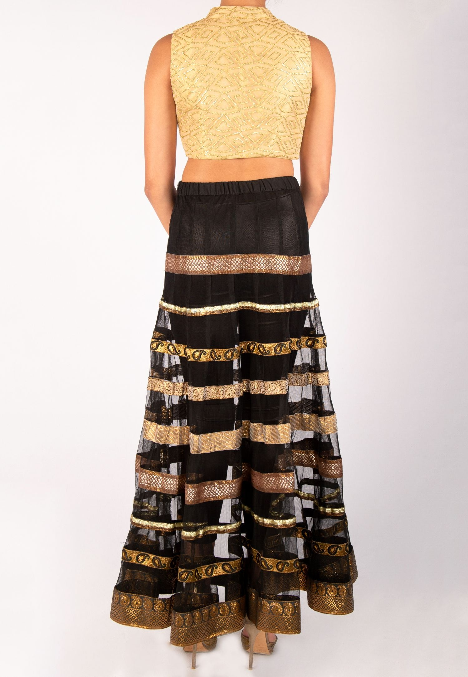 GOLD AND BLACK SHEER STRIPED LEHENGA WITH LEGGINGS AND GOLD BLOUSE