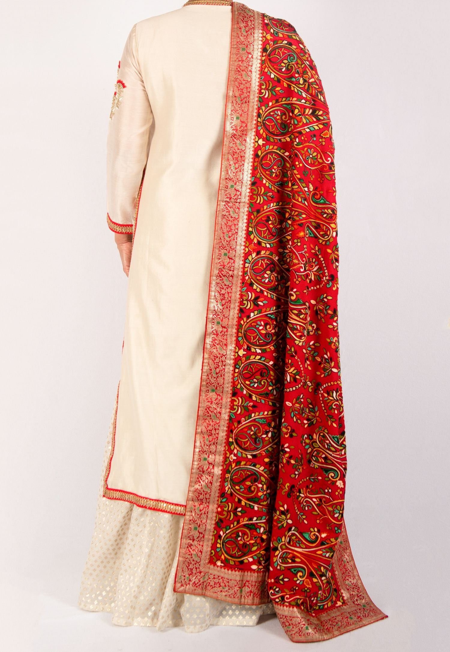 OFF-WHITE AND RED SILK LEHENGA SET