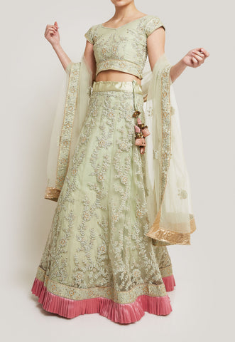 PASTEL GREEN AND PINK LEHENGA SET WITH TWO DUPATTAS