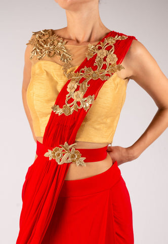 RED AND GOLD STITCHED SAREE