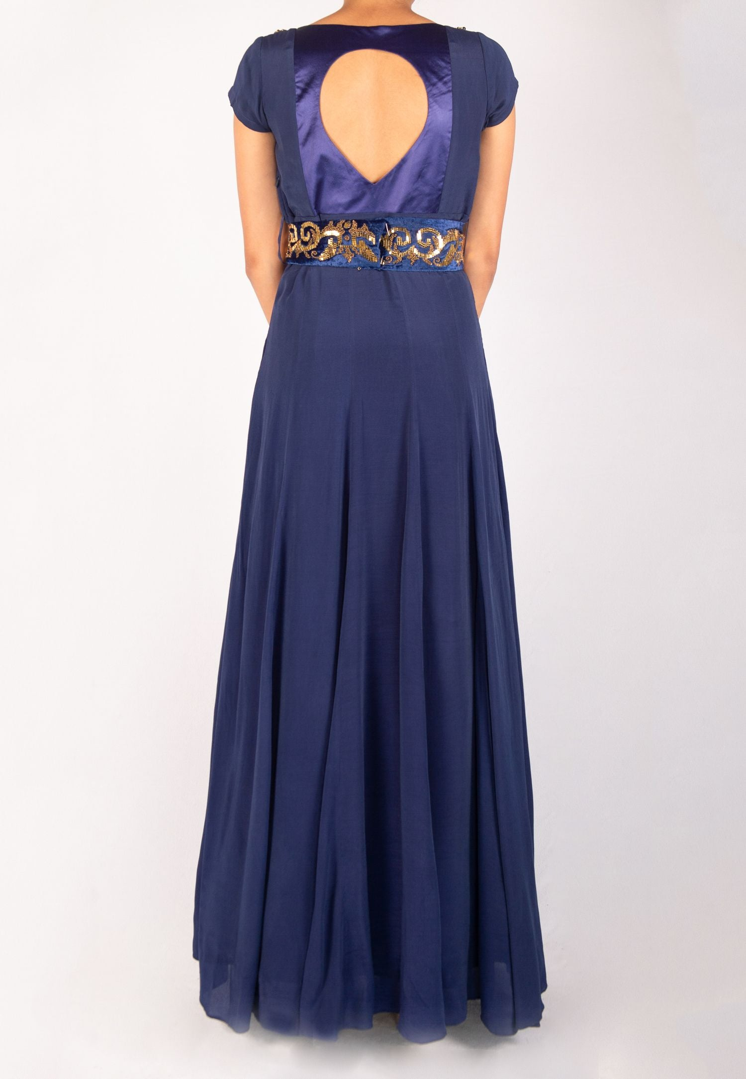 BLUE SILK GOWN WITH BELT
