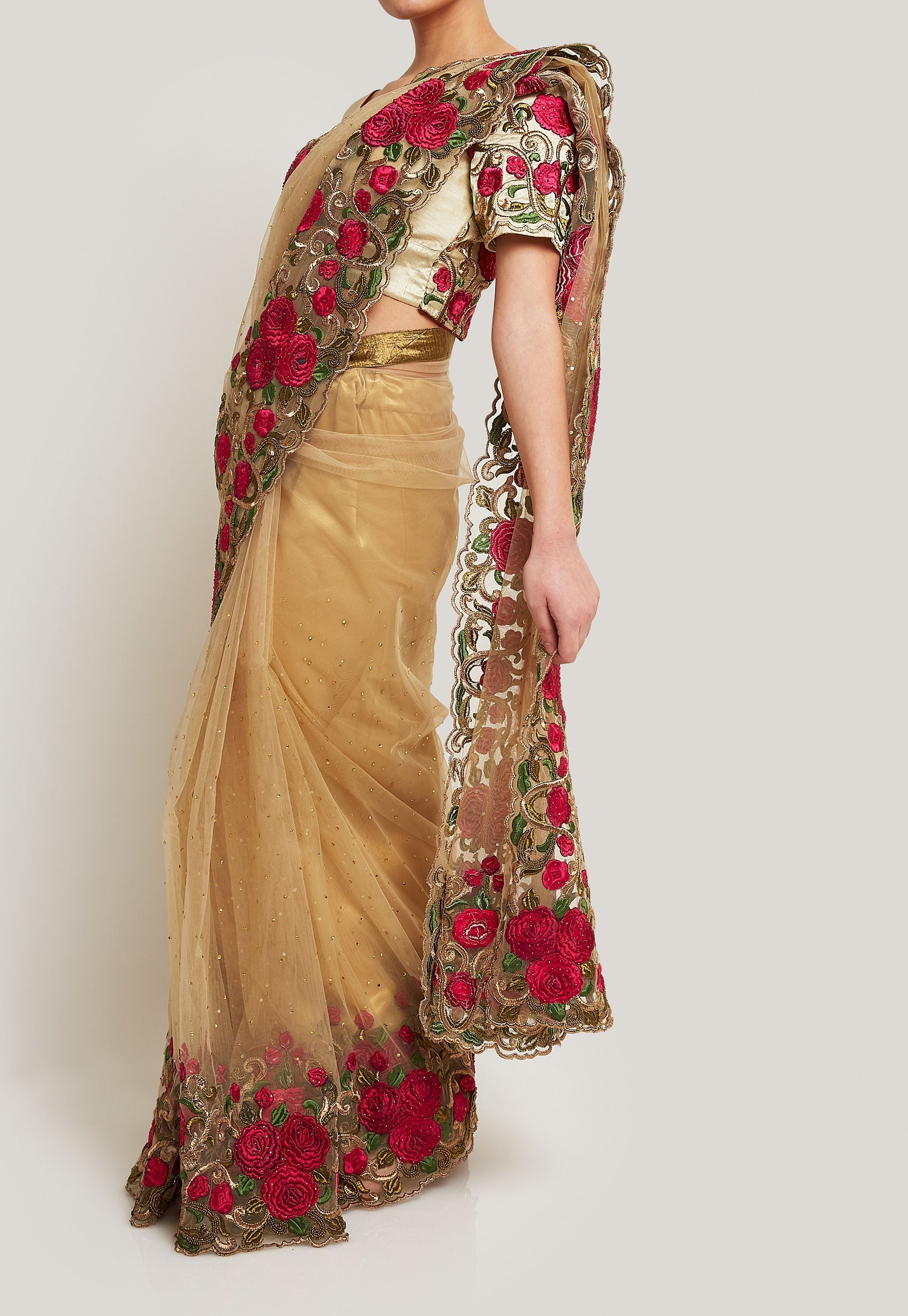 CREAM AND PINK EMBROIDERED SAREE