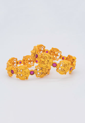 GOLD FILIGREE BANGLES WITH PINK STONE ACCENTS