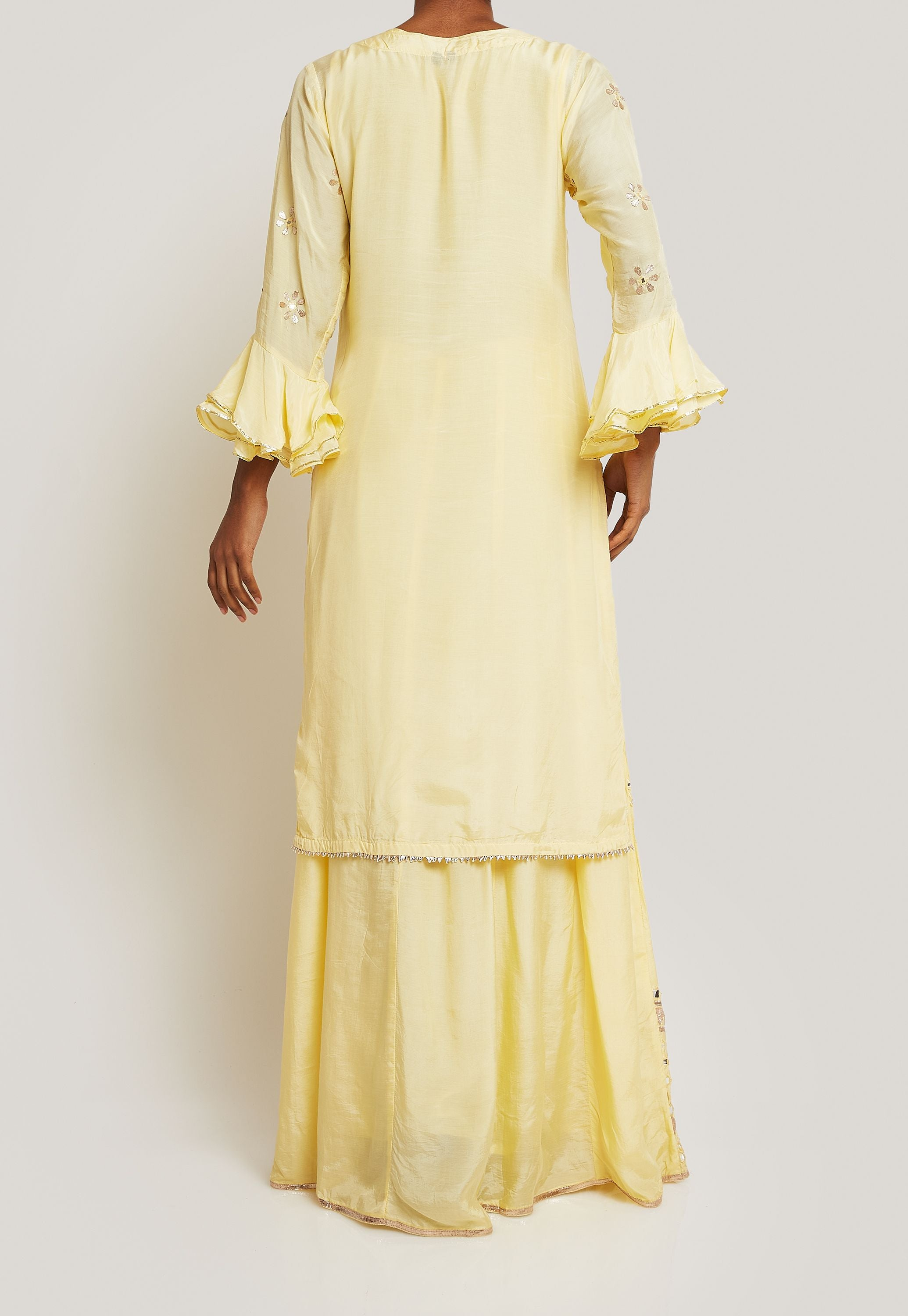 PALE YELLOW FLOWY KURTA SET