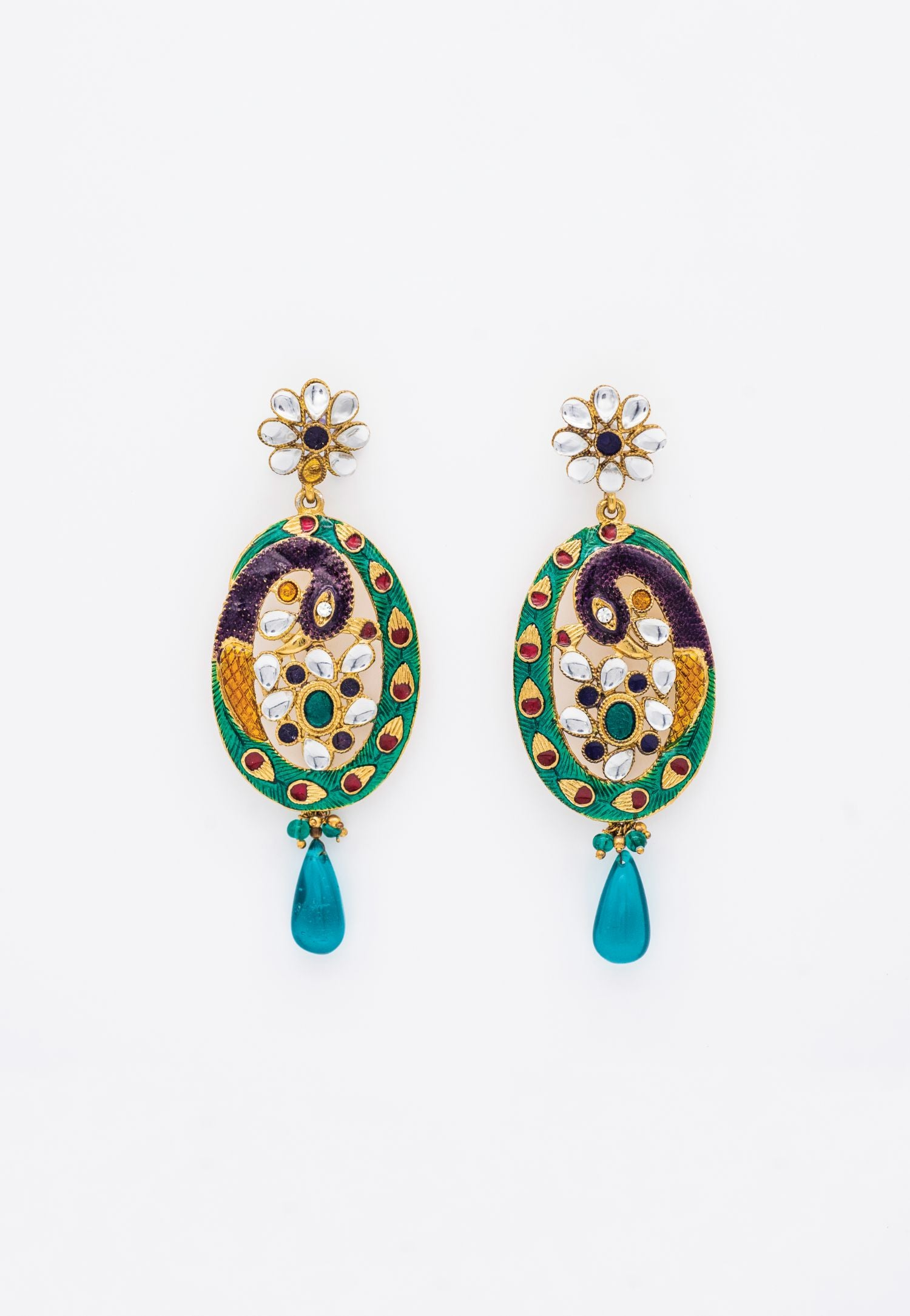 LACQUERED EARRINGS WITH TEAL, NAVY, AQUA, RED AND GOLD ENAMEL