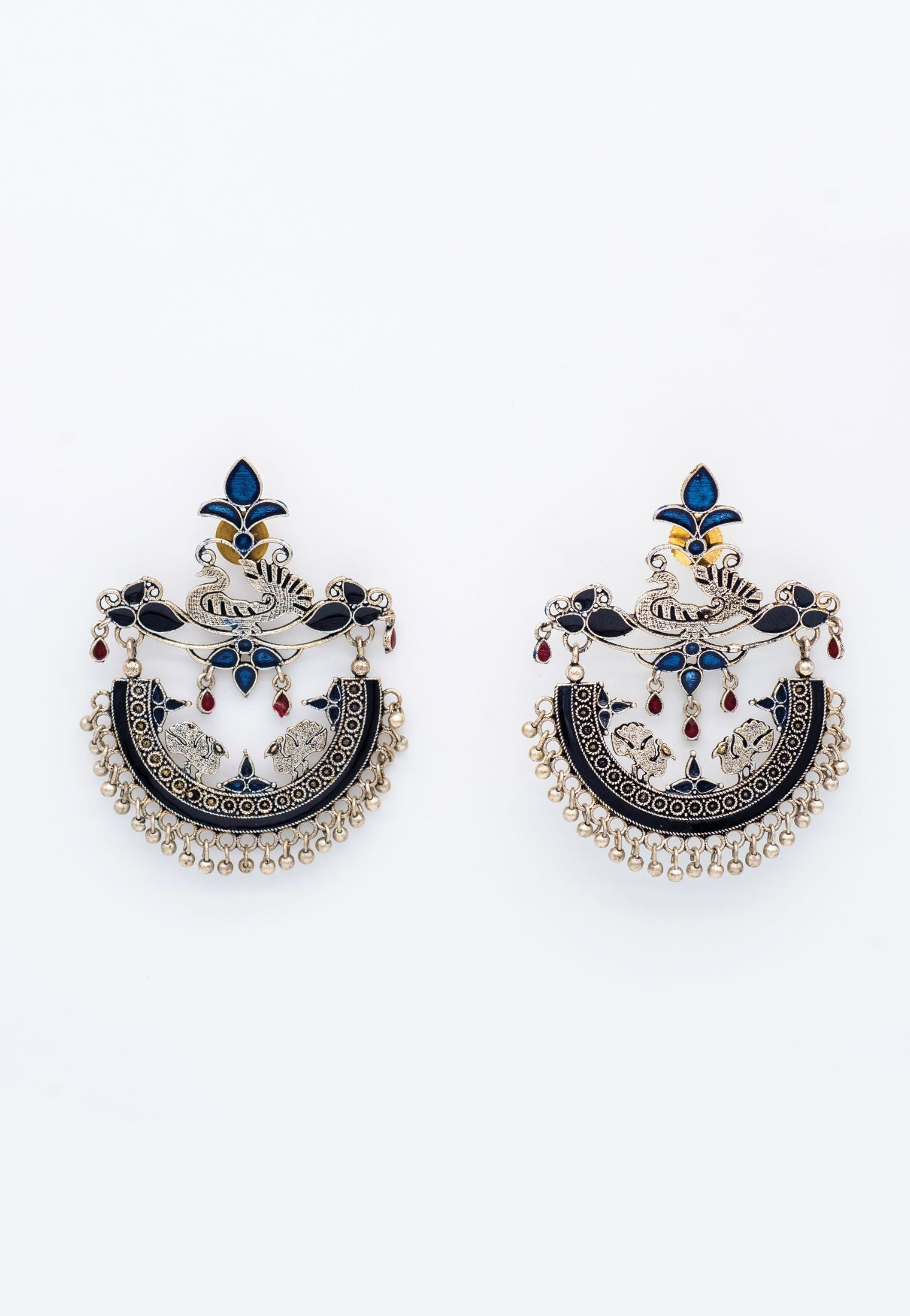 SILVER FOLK STYLE EARRINGS WITH BLUE ACCENTS