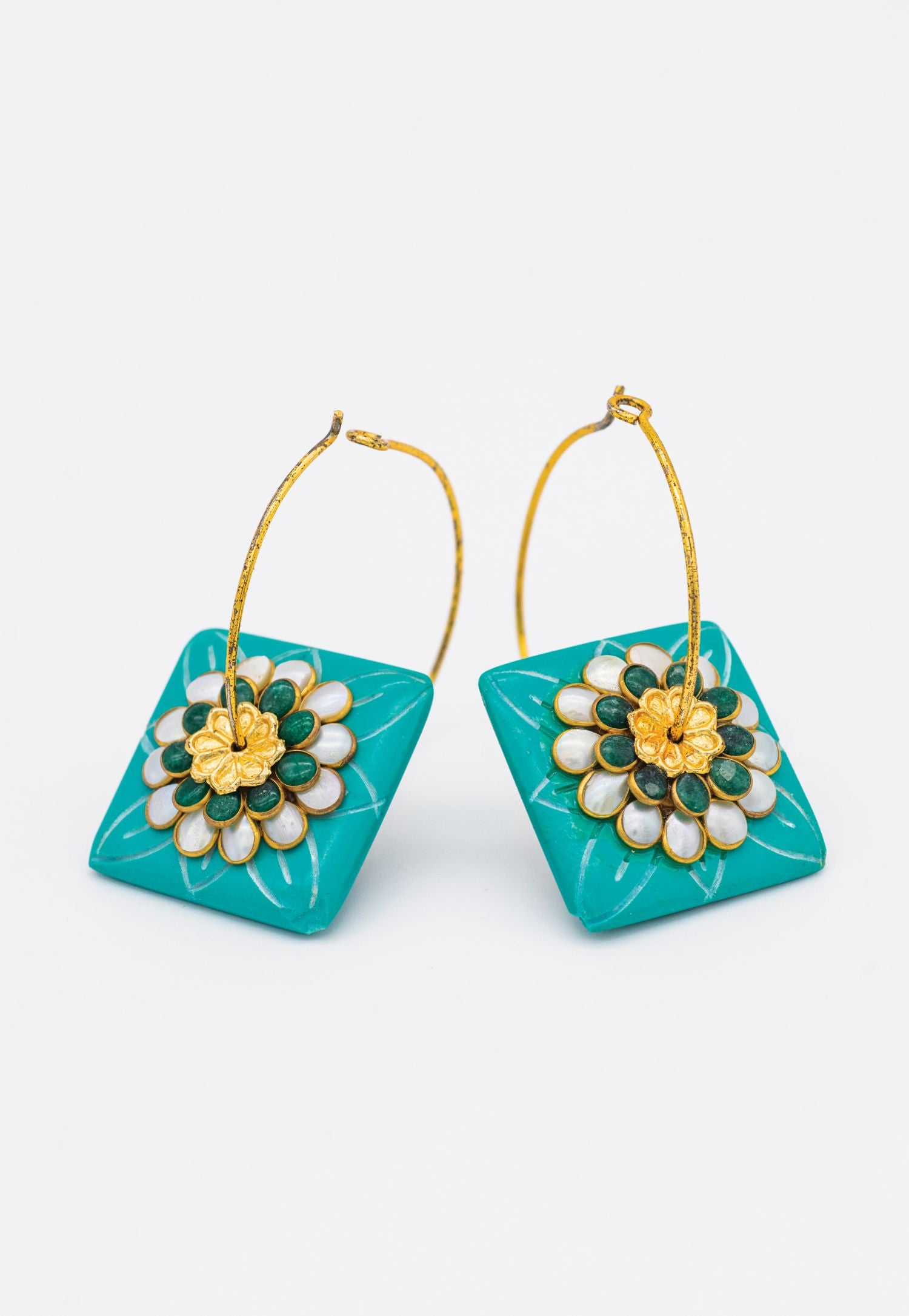 TEAL BLOCK EARRINGS WITH PEARL AND GOLD ACCENTS