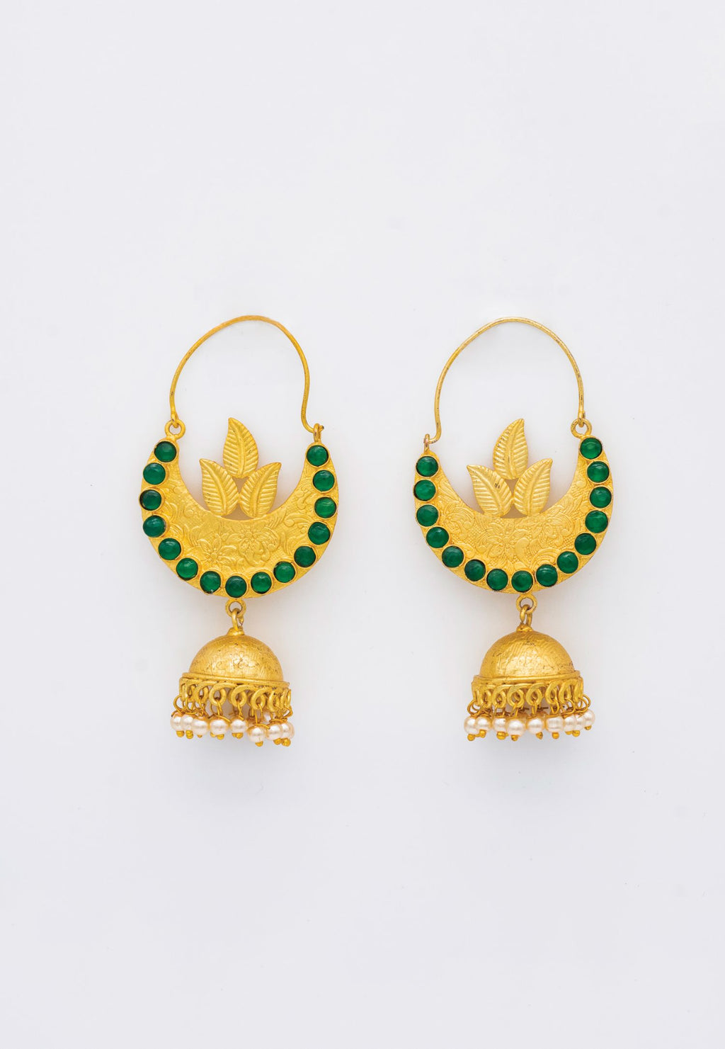 GOLD JHUMKA STYLE EARRINGS WITH GREEN STONES