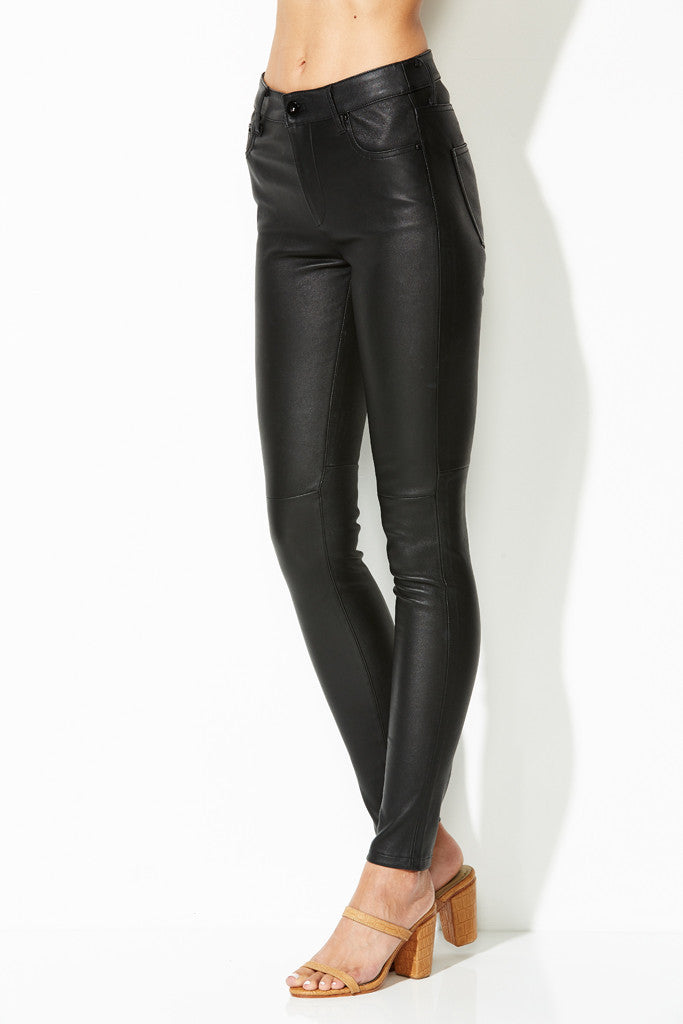 W LEATHER PANTS BLACK