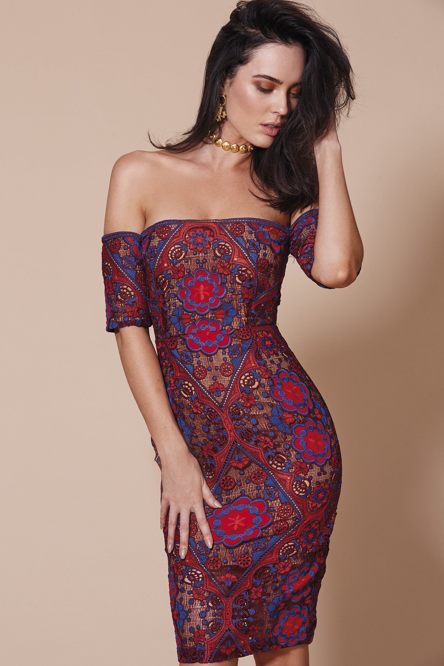 CASABLANCA OFF THE SHOULDER DRESS