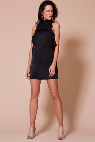 MAYFAIR GARDEN PARTY OFF THE SHOULDER DRESS BLACK