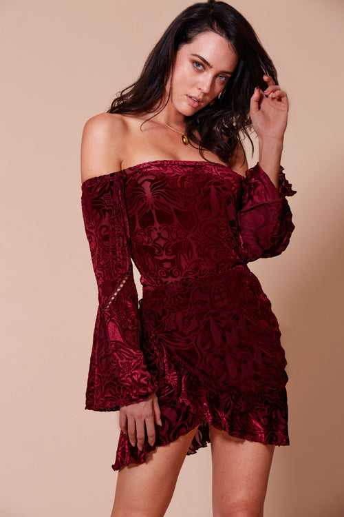 SANGRIA OFF THE SHOULDER DRESS WINE