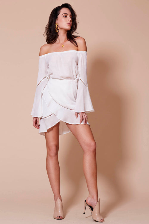MEDINA OFF THE SHOULDER DRESS WHITE