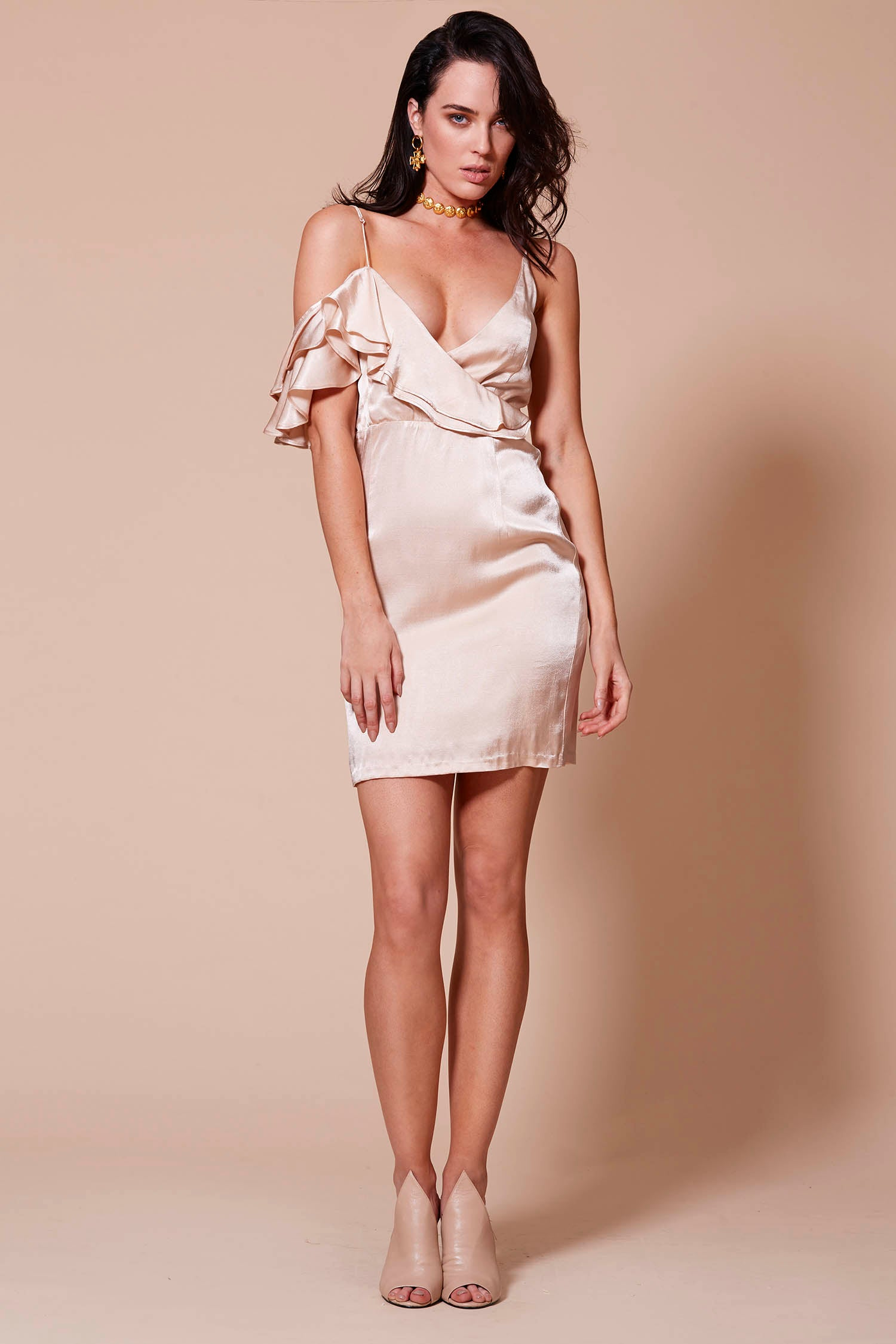 ACAPULCO OFF THE SHOULDER DRESS CHAMPAGNE