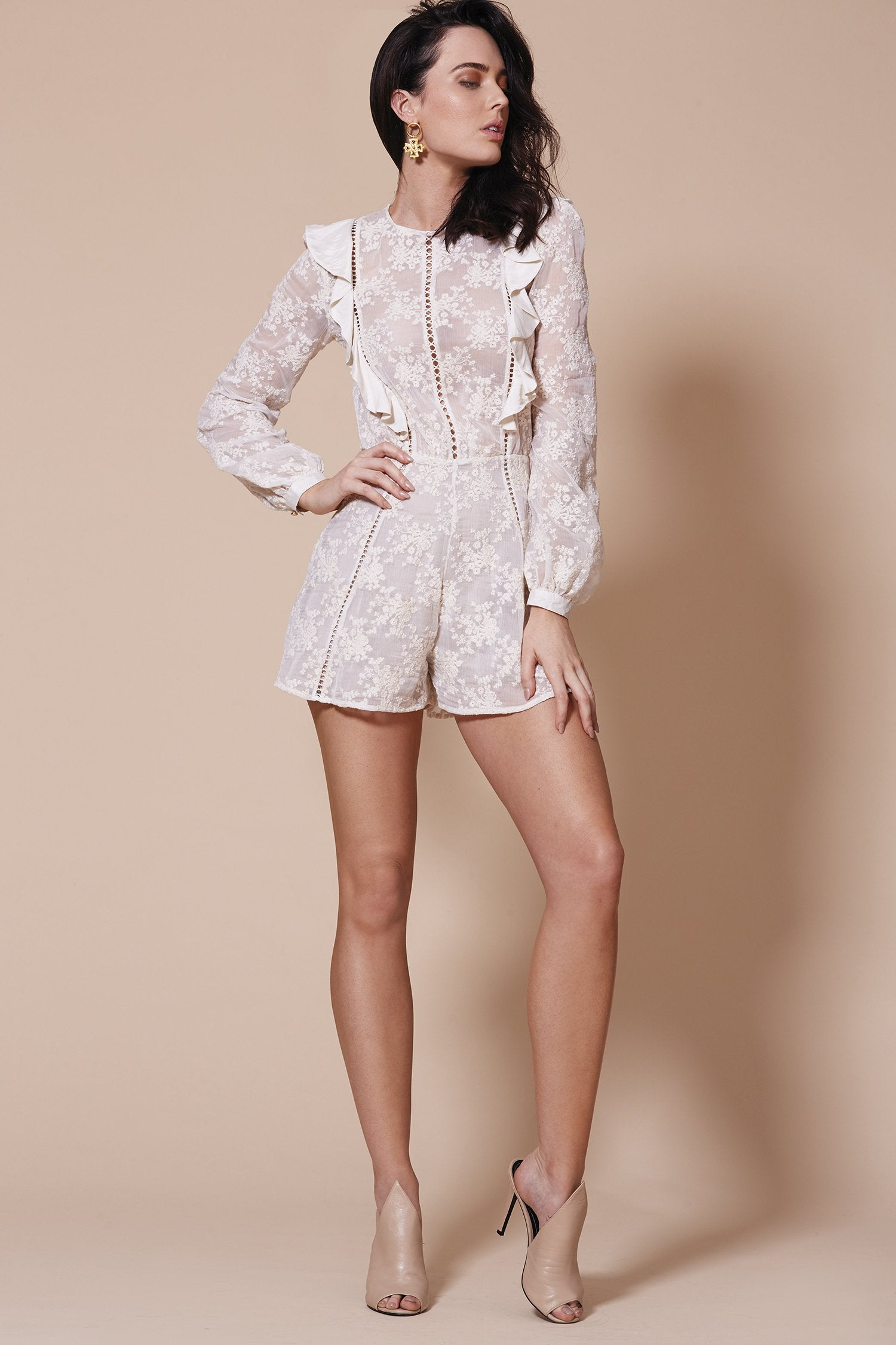 HAVANA LONG SLEEVE PLAYSUIT WHITE
