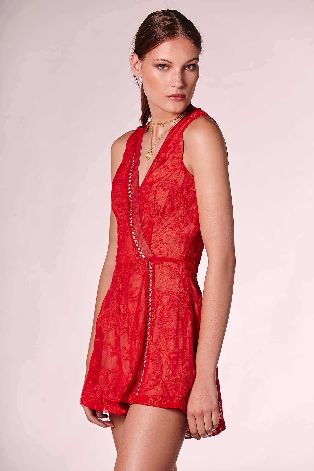 WAYFARER PLAYSUIT RED