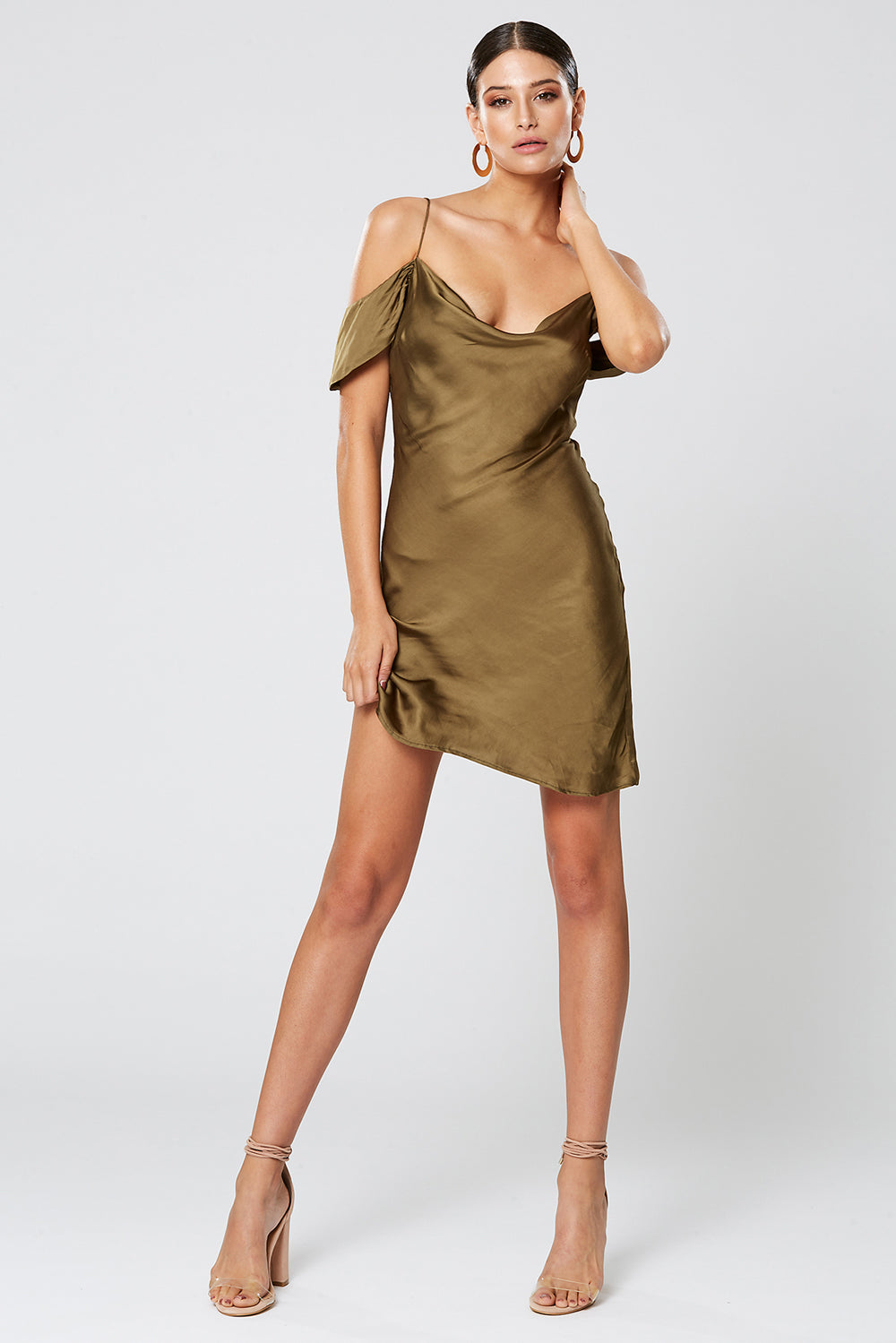 LUNAR COWL NECK DRESS OLIVE