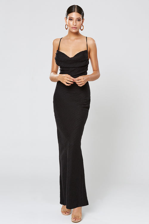 FORTUNE COWL NECK MAXI DRESS BLACK