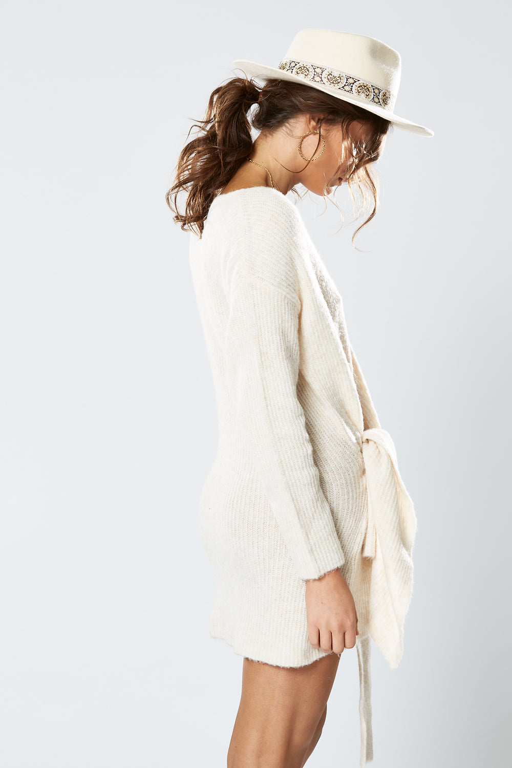 CARIBOU KNOT DRESS OATMEAL
