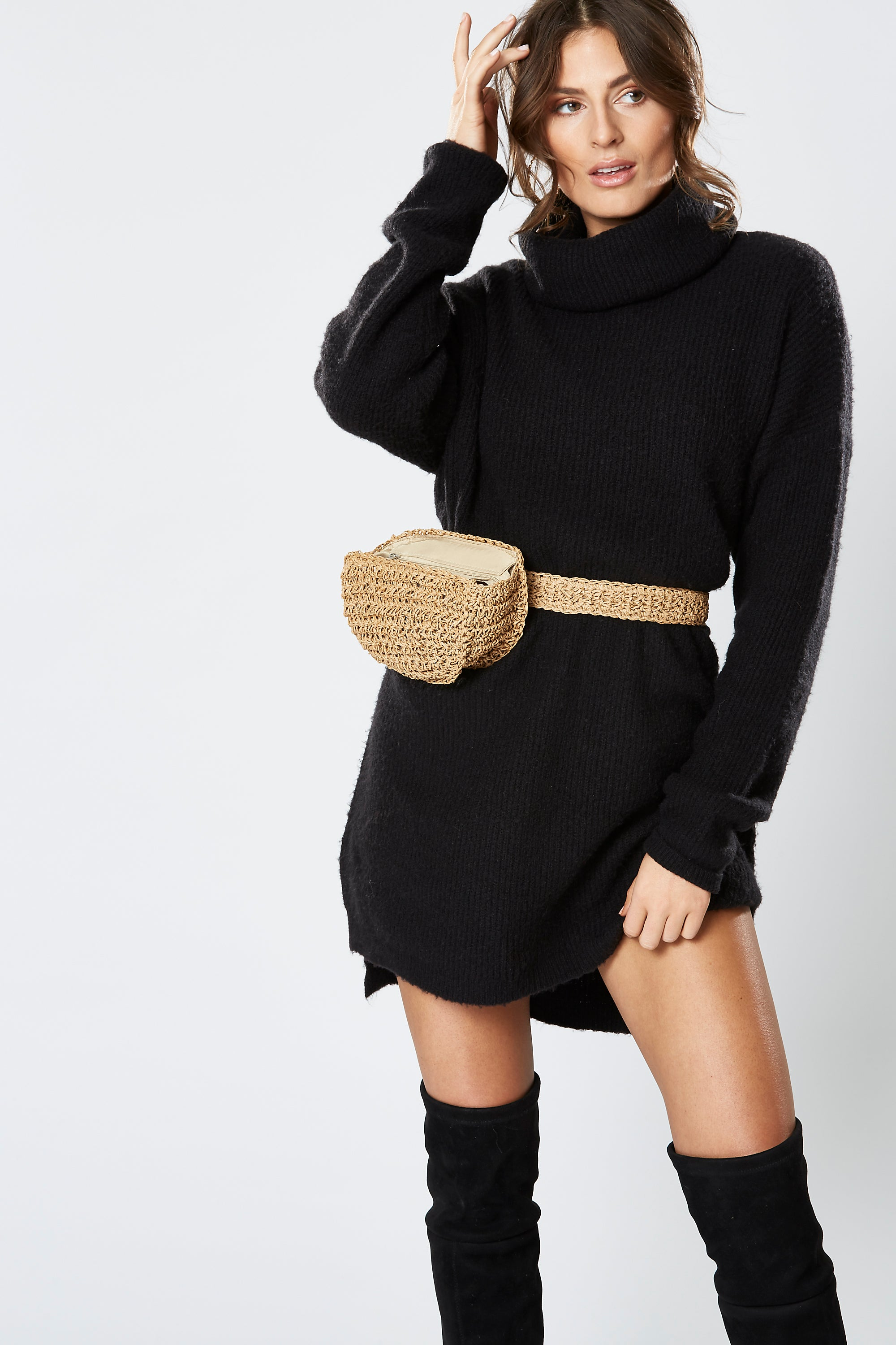 RAVEN KNIT DRESS BLACK
