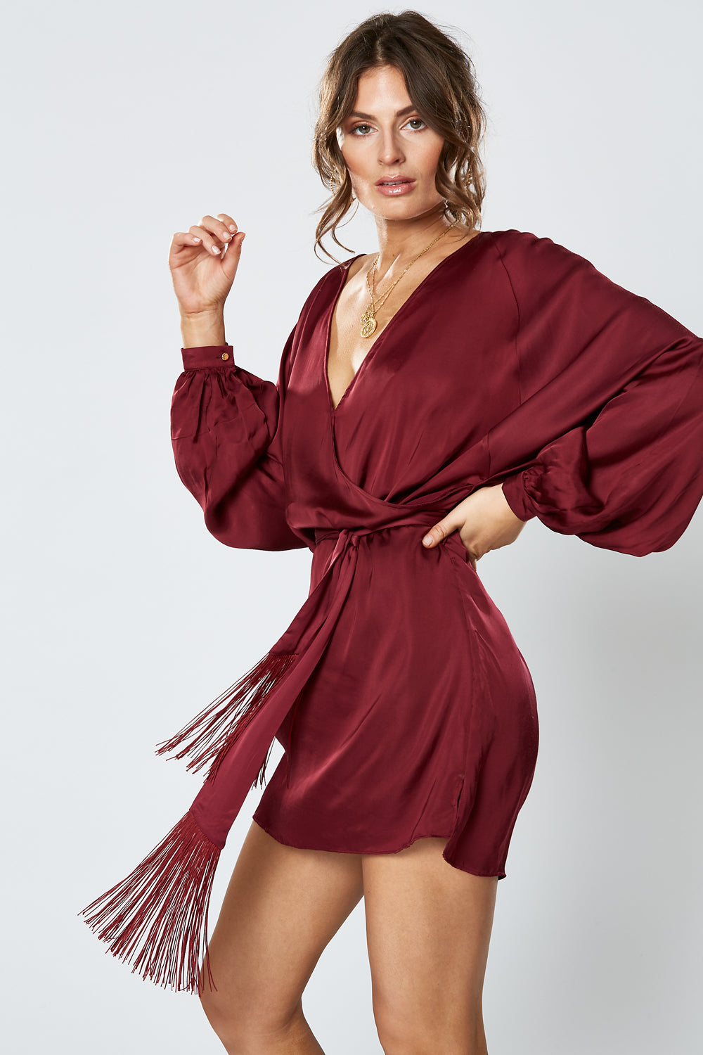 BRITANNIA LONG SLEEVE DRESS WINE