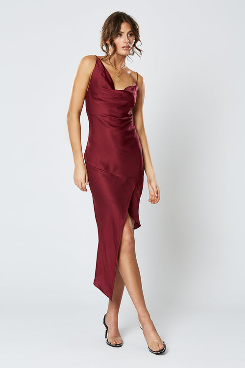 BRITANNIA ASYMMETRICAL DRESS WINE