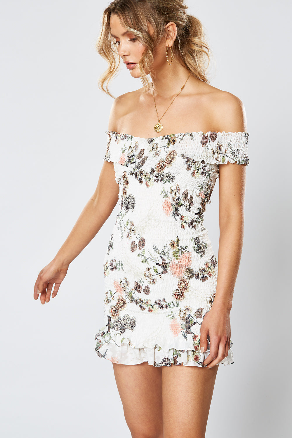 HUMMINGBIRD SHIRRING DRESS