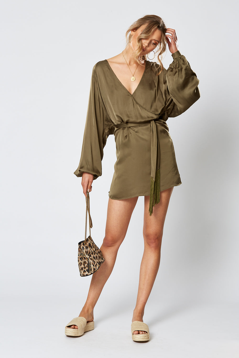 BRITANNIA LONG SLEEVE DRESS OLIVE