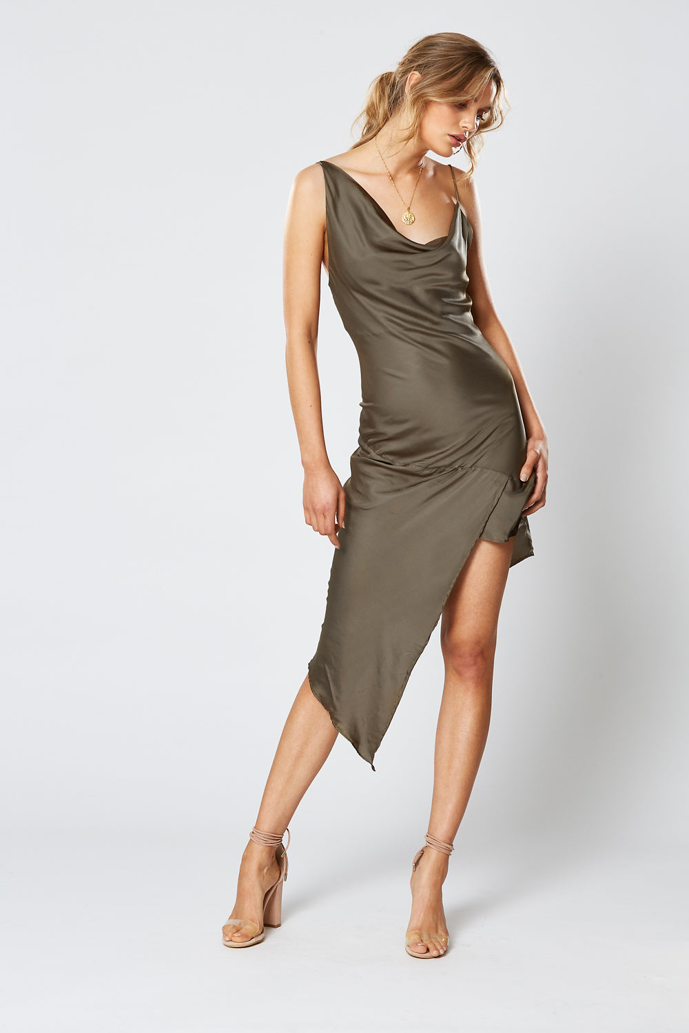 BRITANNIA ASYMMETRICAL DRESS OLIVE