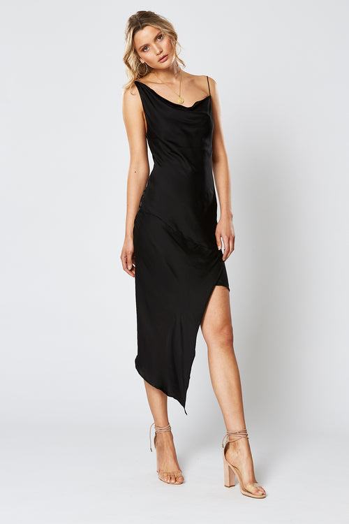 BRITANNIA ASYMMETRICAL DRESS BLACK