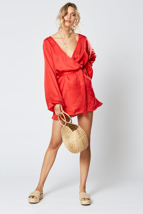 BRITANNIA LONG SLEEVE DRESS RED