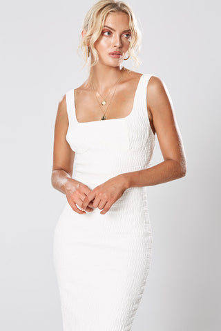 LIDIA ASYMMETRICAL DRESS WHITE
