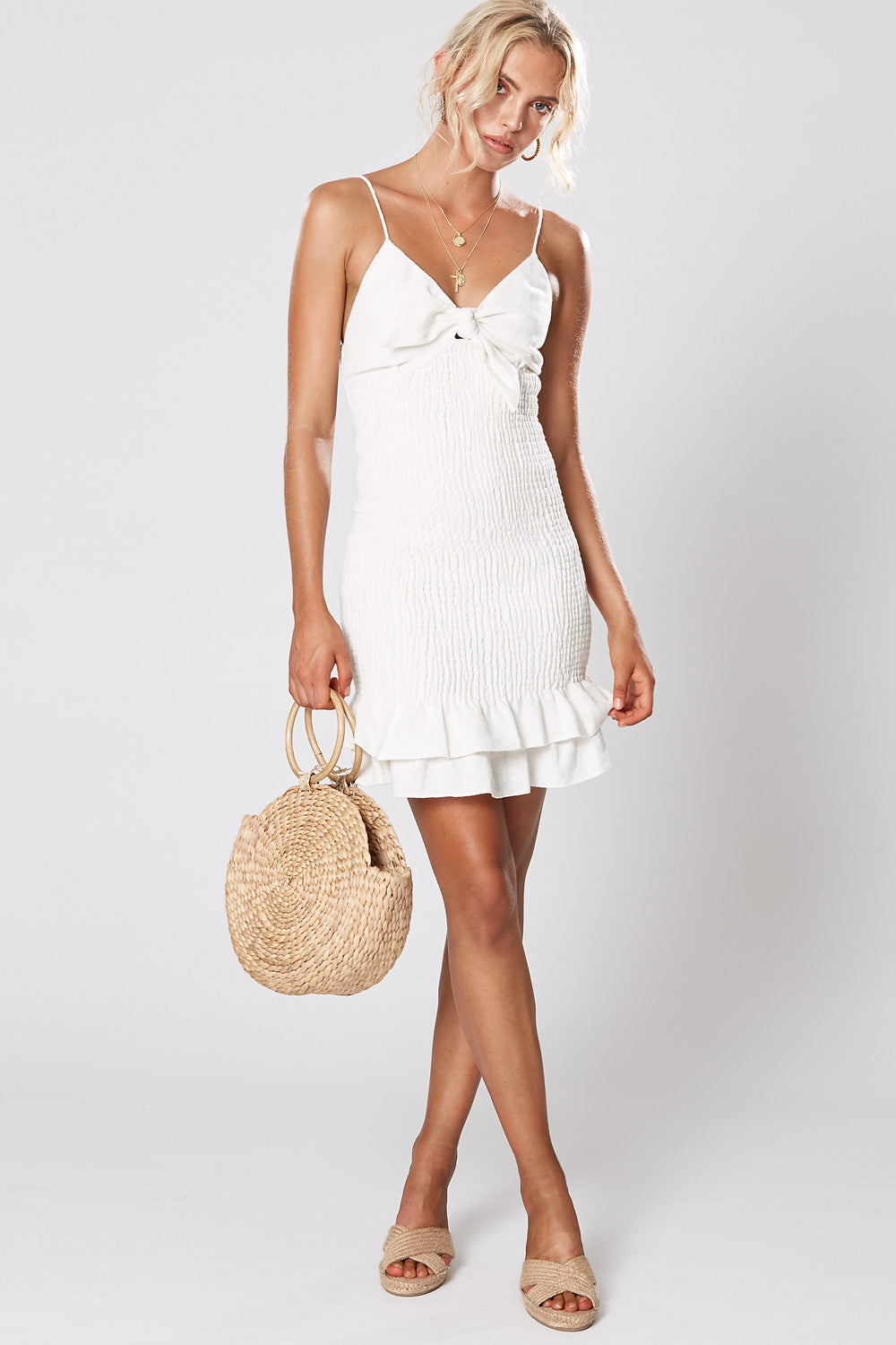 ST TROPEZ SHIRRING DRESS