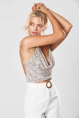 STELLA ONE SHOULDER DRESS SILVER