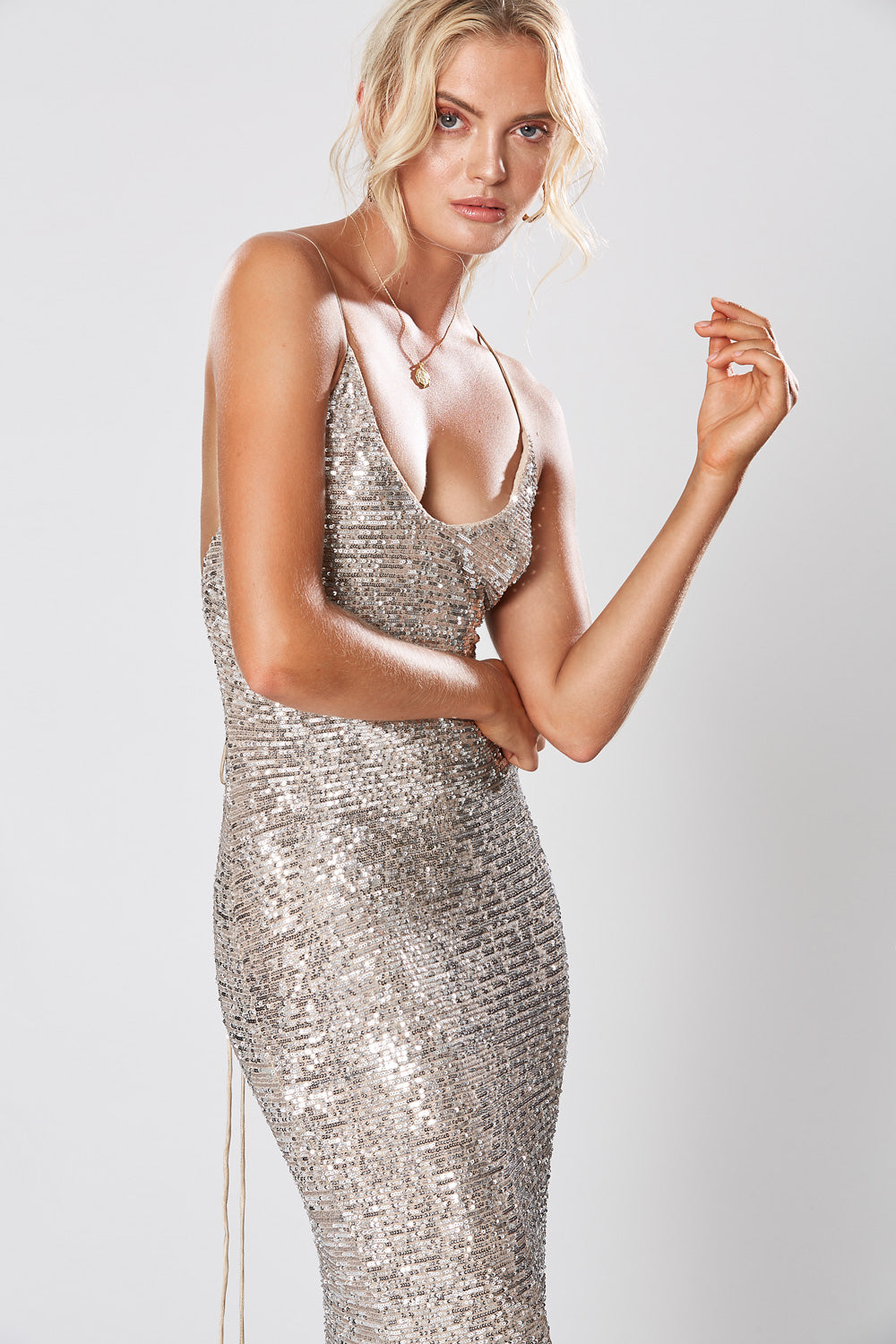 BROADWAY MAXI DRESS SILVER