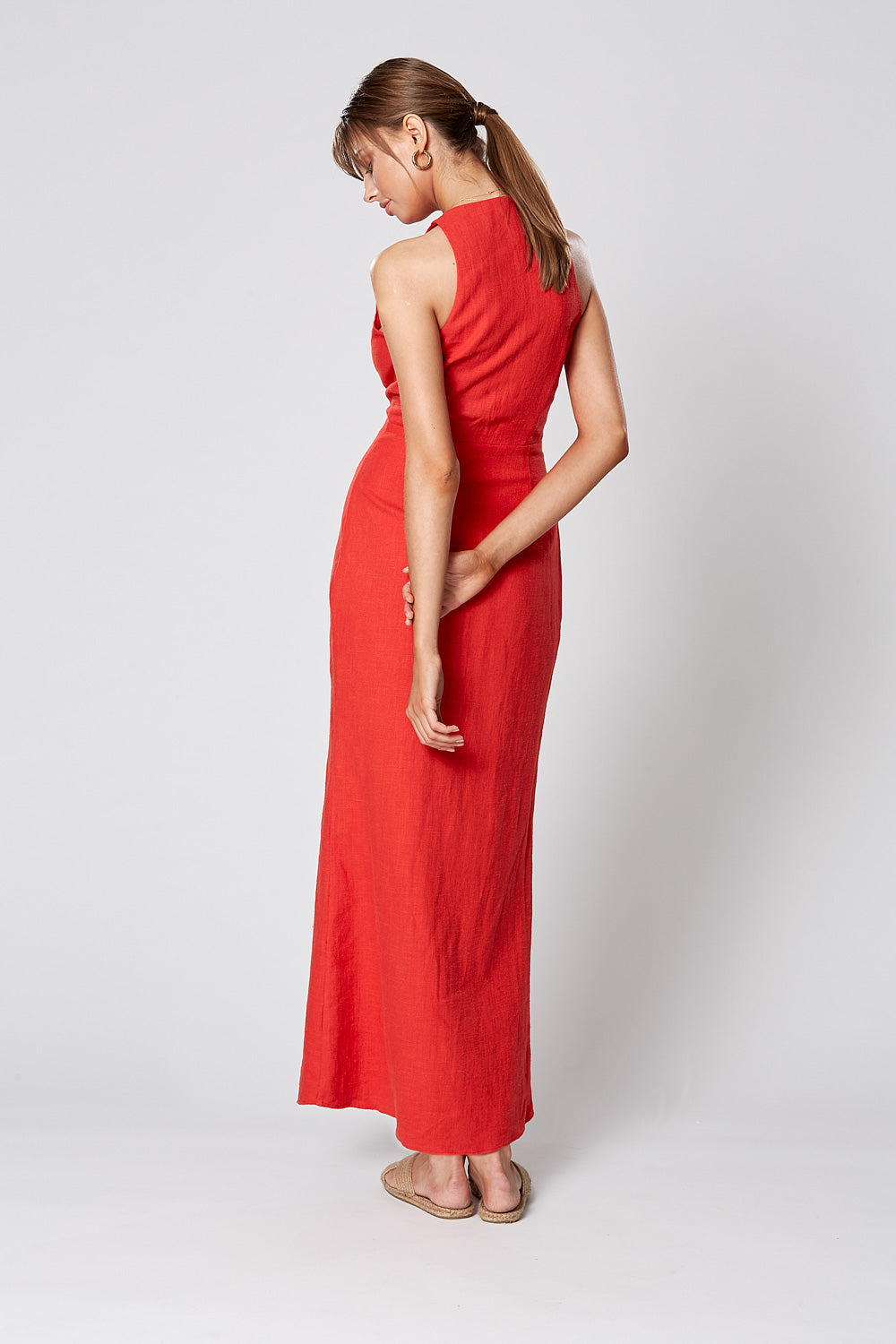 MATISSE BUTTON MAXI DRESS RED