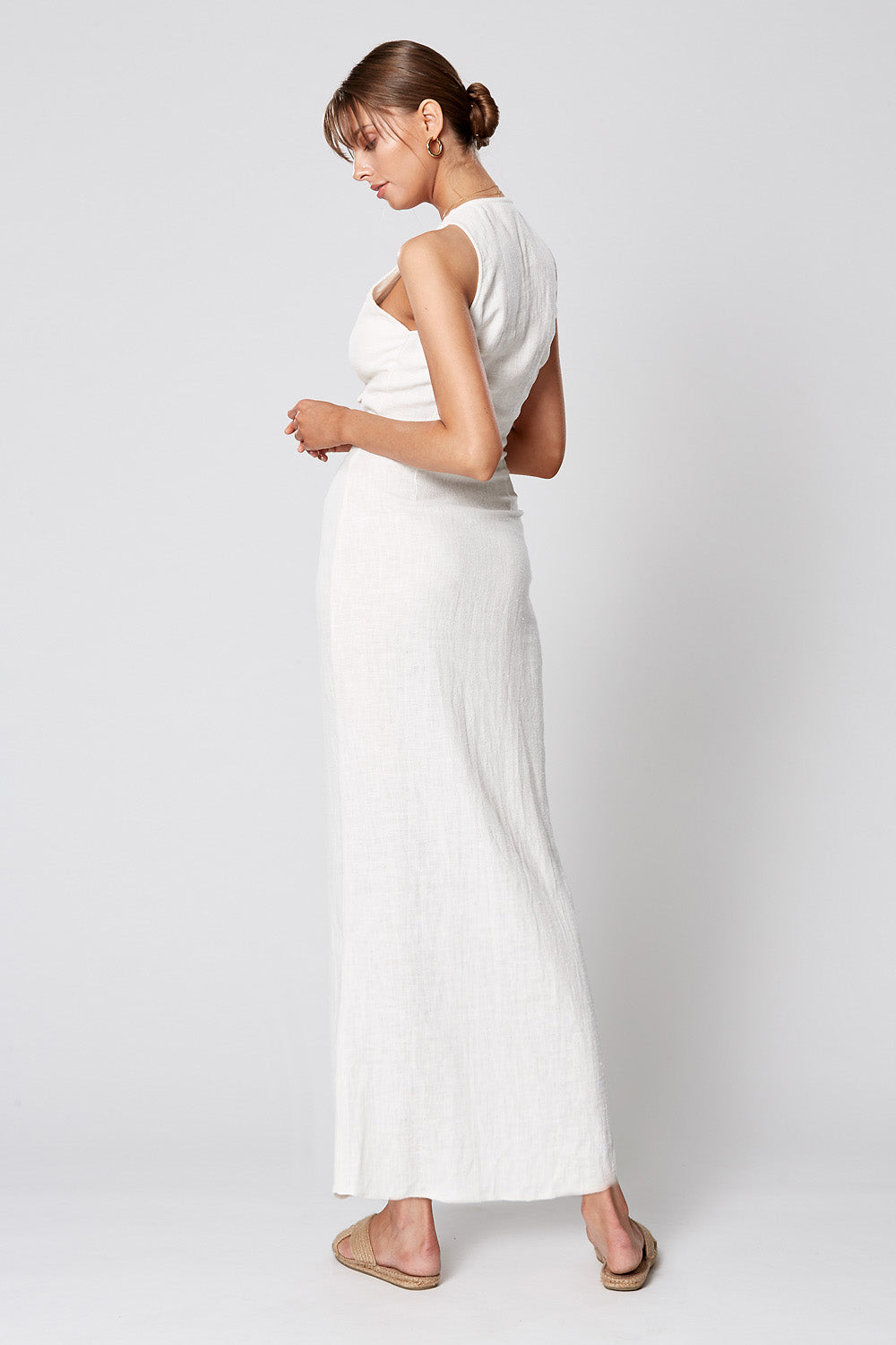 MATISSE BUTTON MAXI DRESS WHITE